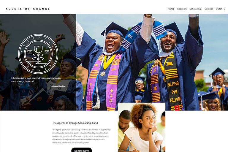 Agents of Change Scholarship Fund Site Design